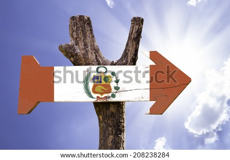 Peru wooden sign on a beautiful day