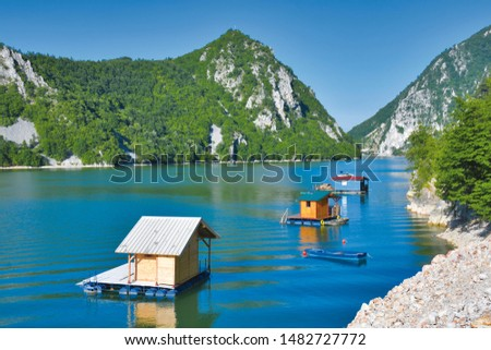 Perucac Lake is an artificial lake on the Drina River, Serbia Stock photo ©