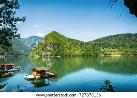 Perucac, Serbia July 31, 2017: Houseboats of Perucac lake, Tara National Park (Serbia)  Stock photo ©