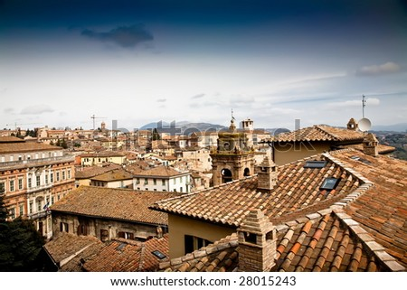 Perugia Cityscape. Old Italy Series.