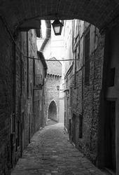 Perugia (Italy) - A characteristic views of historical center in the beautiful medieval and artistic city, capital of Umbria region, in central Italy.