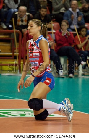 PERUGIA, ITALY - APRIL 22: volleyball player Francesca Piccinini during play-off, quarter final, game 1, A1 league on April 22 2010 at Palaevangelisti, Perugia, Italy