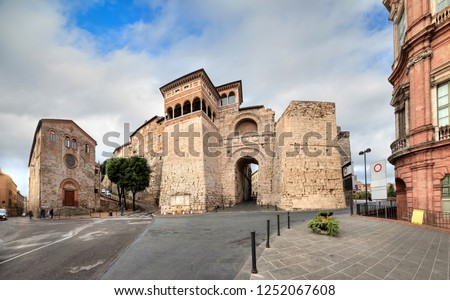 Perugia, Italy. View of Etruscan Arch or Augustus Gate (Arco Etrusco o di Augusto) - one of gates in the Etruscan wall of the city constructed in the 3rd century BC