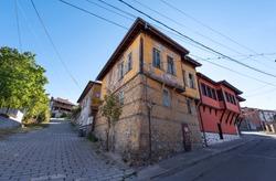 PERUSHTITSA, BULGARIA. Traditional old Bulgarian houses in ethnographic reserve of Perushtitza