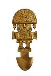 peruvian ancient ceremonial, knive isolated in white background