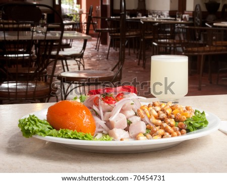 peruvian culinary : CEBICHE  cooked whit lemmon juicy  and seasoning pepper, hot pepper, Garlics, toasted corn and sweet potato