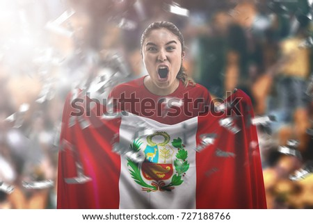 Shutterstock Peruvian female fan holding the national flag