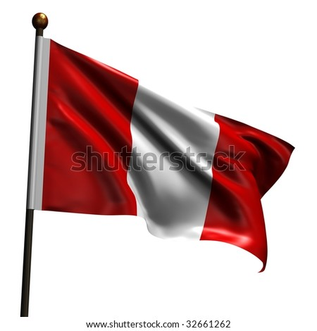 Peruvian flag. High resolution 3d render isolated on white.