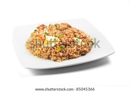 "peruvian food, ""arroz chaufa"" fried rice over white background"