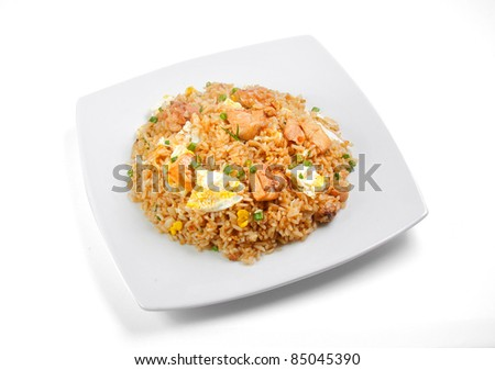 free photos peruvian food arroz chaufa fried rice over white background. Black Bedroom Furniture Sets. Home Design Ideas