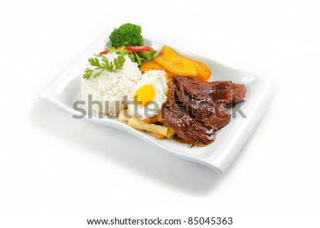"""Peruvian  food beef, whit potatoes, egg, and rice. """"Lomo a lo pobre"""""""