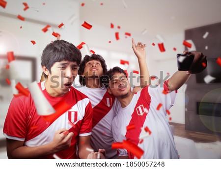 Peruvian soccer fans celebrating a goal of Peru at home