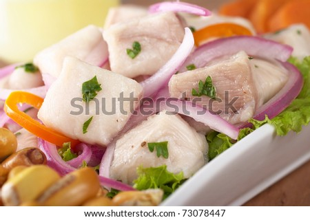 Peruvian-style ceviche made out of raw dogfish (Spanish: tollo), red onions and aji (Peruvian hot pepper) and served with roasted corn (cancha) and sweet potato (Selective Focus, Focus on the front))