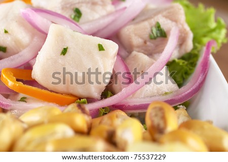 Peruvian-style ceviche made out of raw dogfish (Spanish: tollo), red onions and aji (Peruvian hot pepper) and served with roasted corn (cancha) (Selective Focus, Focus on the fish)