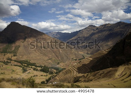Peruvian Terraced Landscape in the Sacred Valley