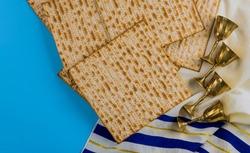 Pesach holiday celebration, matza unleavened bread, four cup kosher wine