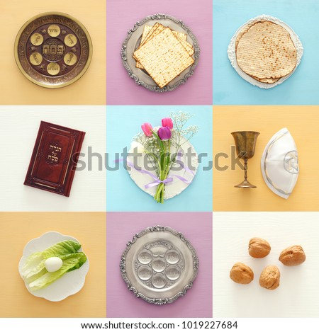 Pesah celebration concept (jewish Passover holiday). Traditional book with text in hebrew: Passover Haggadah (Passover Tale) #1019227684