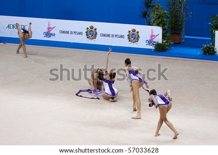 PESARO, ITALY - MAY 2: Bulgaria Team, competes in team exercise with ropes at Rhythmic Gymnastic World Cup 2009 on May 2, 2009 in Pesaro, Italy