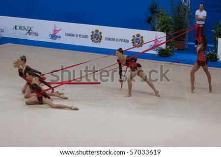 PESARO, ITALY - MAY 2: France Team, competes in team exercise with rope at Rhythmic Gymnastic World Cup 2009 on May 2, 2009 in Pesaro, Italy