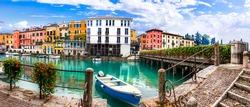 Peschiera del Garda - charming village with colorful houses in beautiful lake Lago di Garda. Verona province, Italy