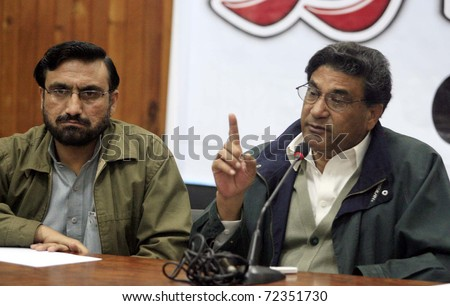 PESHAWAR, PAKISTAN - MAR 02: Khyber-Pakhtoonkhawa Sports and Culture Minister, Syed Aqil Shah, gestures during Guest Hour program at Peshawar press club on March 02, 2011in Peshawar.