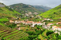 Peso da Regua in Douro valley. Portugal vineyard countryside landscape. Alto Douro wine making landscape.