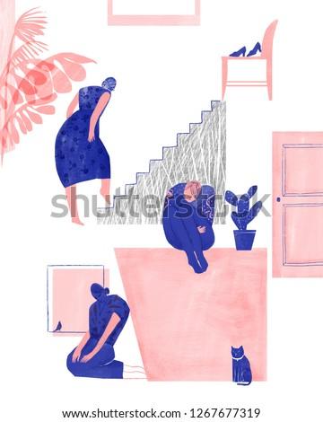 Pessimistic stress female illustration illustration material