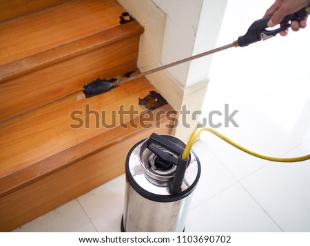 Pest control technician using equipment and liquid to dispose Termite infested wood inside house.