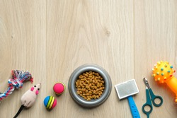 Pet care and training concept. Bowl with dry kibble food and accessories for dog and cat on wooden table. Flat lay, top view. Veterinary shop banner mockup.