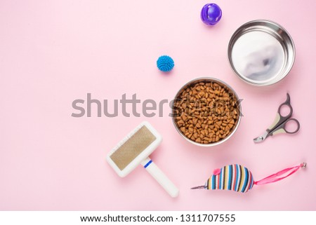 Pet, cat, food and accessories of cat life flat lay, with space for design, on a pink background #1311707555