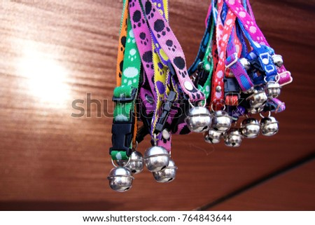 Pet collar : Dog Collars Multi color : Close up of dog collars with bell hanging #764843644