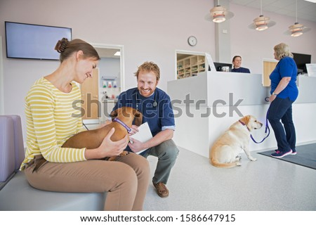 Pet dog owner in vet surgery waiting room reception