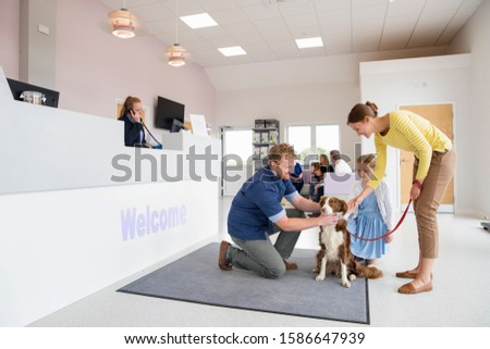 Pet dog owner with vet in surgery waiting room reception