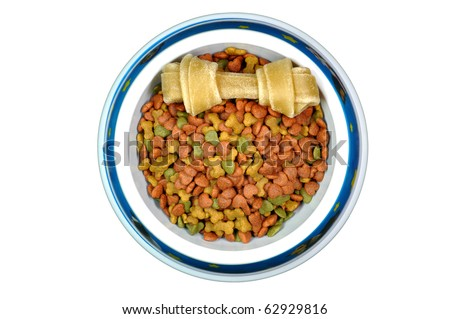 Pet food and dog chew in bowl.