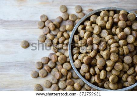 pet food in circle stainless bowl