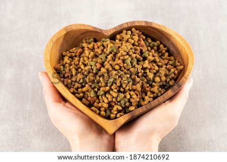 Pet food in heart shaped bowl in woman hands, pet love concept Stockfoto ©