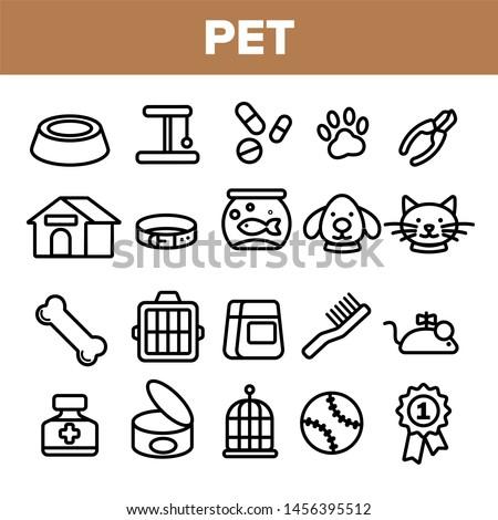 Pet Line Icon Set . Animal Care. Grooming Pet Symbol. Dog, Cat Veterinar Shop Icon. Thin Outline Illustration