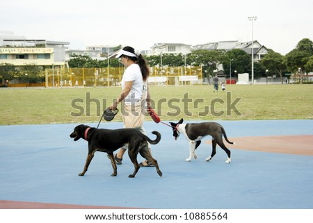 Pet owner having a walk with his dog