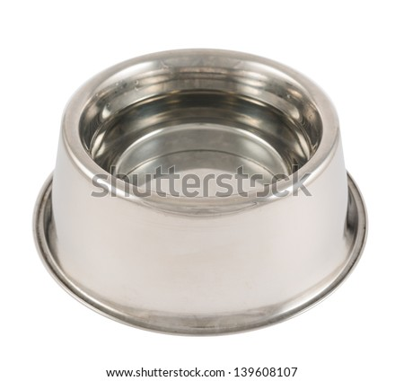 Pet's dog steel metal glossy bowl filled with water isolated over white background