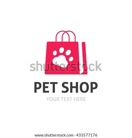 Pet shop logo isolated on white, flat pet store logotype, dog paw on bag icon, zoo goods image