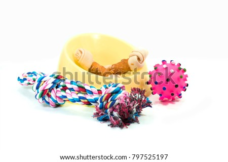 Pet supplies set about plastic bowl, rope, rubber toys with snack bone for dog or cat on white background. #797525197