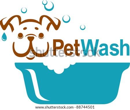pet wash icon - stock photo