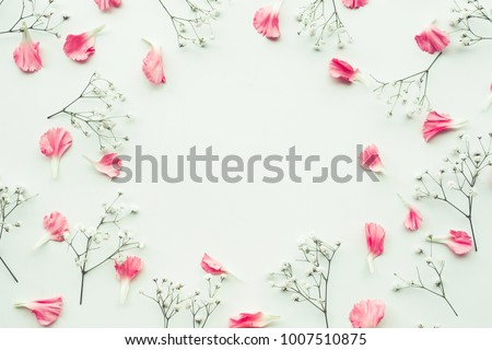 Petal flower on white background with copy space.Flat lay.Valentines,love and wedding concept ideas