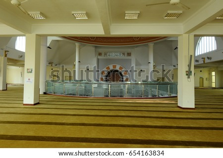 PETALING JAYA, MALAYSIA -JANUARY 01, 2015: Interior of Masjid Jamek Sultan Abdul Aziz at Petaling Jaya, Malaysia. Modern mosque and community building with Islamic design and architecture.