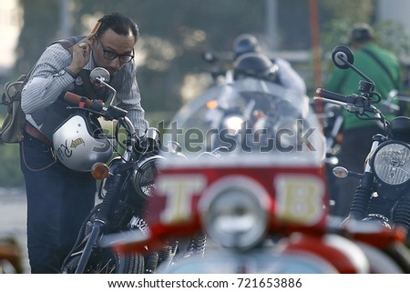 PETALING JAYA, MALAYSIA - SEPTEMBER 24, 2017. A motorcycle enthusiasts participate for the distinguished gentleman's ride in Kuala Lumpur.