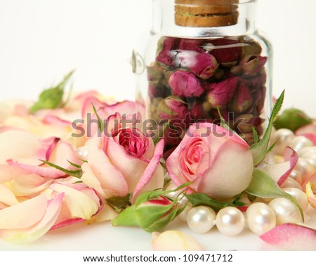 Petals of roses and pearls