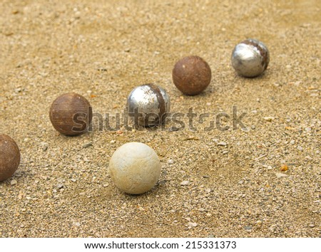 Petanque balls different on the ground.
