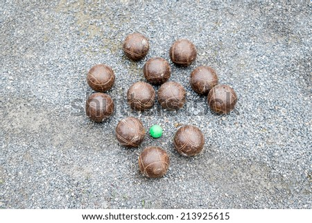 Petanque balls on the ground