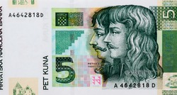 Petar Zrinski 1621-1671 and Fran Krsto Frankopan 1643-1771 Portrait from Croatia 5 Kuna 2001 Banknotes.