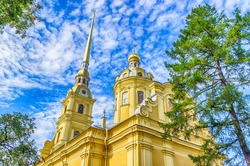 Peter and Paul Cathedral bell tower view from below up  clear sky Saint-Petersburg Russia